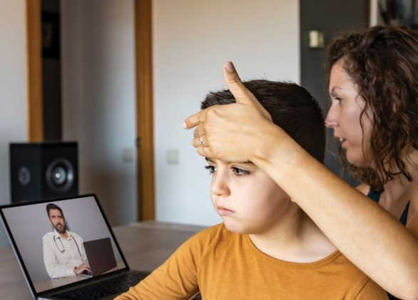 Mom talking to Doctor on Virtual Call
